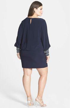 xscape matte jersey blouson dress with beaded cuffs (plus size