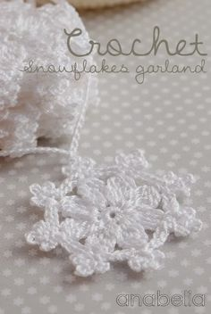 Anabelia craft design: Crochet snowflakes garland Chart only Crochet Snowflake Pattern, Crochet Garland, Crochet Motifs, Crochet Snowflakes, Knit Or Crochet, Crochet Diagram, Crochet Doilies, Crochet Winter, Snowflakes