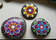New Mandala Stone Painted Rock Colorful Dot Art Painting