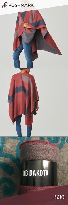 B.B. Dakota Poncho Still in its packaging. Color is Mulberry. BB Dakota Sweaters Shrugs & Ponchos