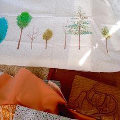 Pintando árboles para cojines
