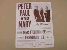 Vintage 1960's Peter Paul and Mary Concert Poster Event Poster by russnmt on Etsy