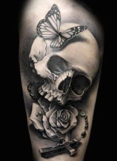Here is a list of 50 Skull Tattoo Designs for Men. I hope you will like These Skull Tattoo Designs. When we are talking about Skull Tattoo Designs for men, one must ensure that he has chosen the right place for tattooing. Bild Tattoos, Body Art Tattoos, Sleeve Tattoos, Tatoos, Thigh Tattoos, Music Tattoos, Ankle Tattoo, Tattoo Designs, Skull Tattoo Design