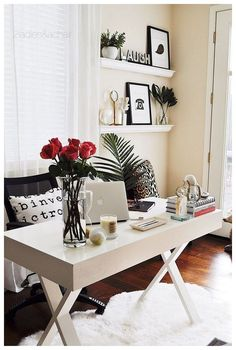 Home Office Decor. Home office and home study fashion hints, such as tips on a modest room, desk ideas, styles, and cupboards. Carve out a work area inside the house that you won't mind getting work done in. 67125175 5 Home Office Decorating Ideas Modern Home Office Furniture, Home Office Space, Home Office Design, Home Office Decor, Home Design, Design Ideas, Office Designs, Office Table, Office Workspace