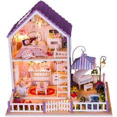 DIY Dollhouse Miniature Romantic purple Dollhouse Kit by UniTime