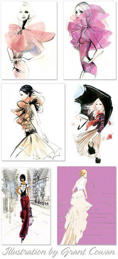 Loving these illustrations by Grant Cowan, so feminine and pretty. #Fashion #FashionSketches #FashionIllustrations #Art