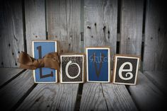 4 piece Personalized Wood Block Set . . . great for wedding home decor primitive gift name personalized wood sign boy girl baby family. $16.00, via Etsy.