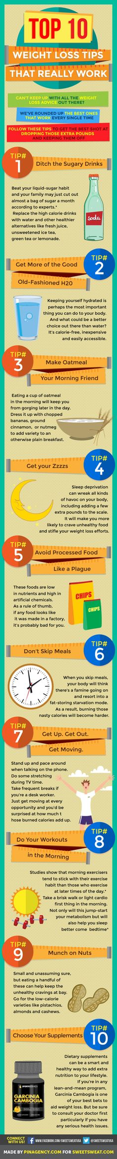 Top 10 #WeightLoss Tips That Really Work  #Infographic #fitness