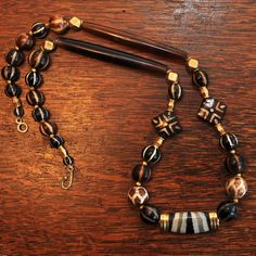 Fine necklace of Ancient Pyu Etched agate beads, Ancient Pyu Pumtek beads, Indo-Tibetan agates, and antique gold from India.