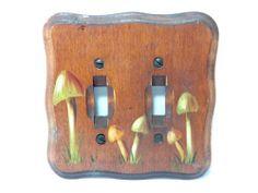 Vintage 1970s Wooden Mushroom Light Outlet Switch Plate Cover Signed MS   eBay