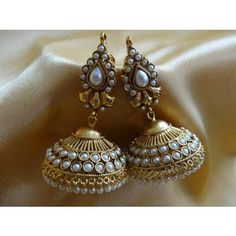 Ornativa Pretty amazing kundan jhumka - Earrings by OrnativaDotCom Stylish Jewelry, Jewelry Accessories, Jewelry Design, Fashion Jewelry, Indian Accessories, Indian Earrings, Jhumki Earrings, India Jewelry, Temple Jewellery
