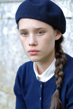 Feeling Unsure, maybe about her Parisian beret...no, that couldn't be it. ;-) | French girl in blue