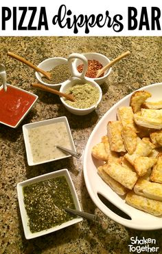 Guests will LOVE a Pizza Dippers Bar for your next holiday get together! And it could not be easier - pizza dippers, 3 sauces and 3 spices provides tons of yummy flavor combos for dipping!