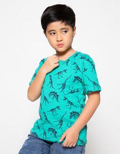Little M Kaos Anak Laki-Laki Dino Slub Print - Hijau
