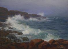 """Stormy Seas at Bass Rocks"" oil/9x12 www.hillaryscottstudios.com"