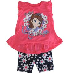 """Your girl will surely get noticed wearing this pretty Disney licensed set. The pink top features Sofia the First """"Perfect Princess"""" pictured and flutter sleeves. Complete the look with floral patterned shorts."""