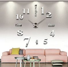 Buy Or Check Price to Firstergo Modern DIY Large Wall Clock 3d Mirror Surface Sticker Home Decor Art Design New