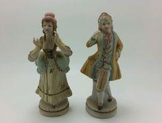 Vintage Occupied Japan Ceramic Figurines Victorian Couple Man Woman