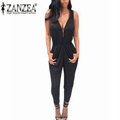 Nouveau 2017 ZANZEA Été Barboteuses Femmes Salopette Sexy V Cou Sans Manches Combishort Moulante Casual Body Pantalons Longs Plus La Taille