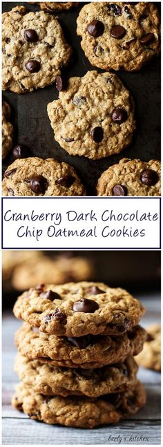 Cranberry Dark Chocolate Chip Oatmeal Cookies are soft and chewy with plump, tart, cranberries and chocolate chunks, hints of brown sugar and cinnamon. via @berlyskitchen