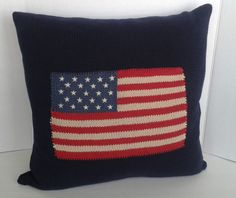 RALPH LAUREN Pillow American Flag KNIT DOWN 20