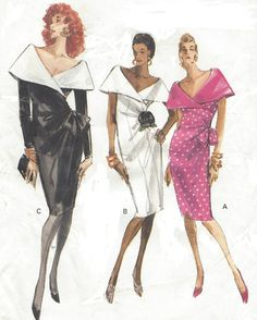 Misses Dress: Semi-fitted, slightly tapered, mock wrap dress, mid-knee, has self or contrast collar and back zipper and hemline slit. Views A and B: sleeveless. Views A and C: bow with bias knot. View C: long sleeves. Purchased flower.  Pattern printed by Vogue Pattern Service in 1988, and is in factory folds. This is an original sewing pattern with all of the original pattern pieces and instructions. This is not a PDF or copy.  Size 12 - 14 - 16 Bust 34 to 38 Waist 26 1/2 to 30 Hip 36 t...