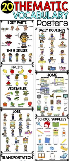 Support your ELLs and other students in building beginning vocabulary with thematic vocabulary posters! 20 themes include places, transportation, school supplies, food, home, daily routines, and more! Perfect for ELL newcomers in need of beginning vocabulary!