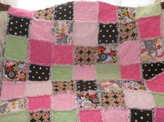 Beautiful Rag Quilt in pink, black, and green