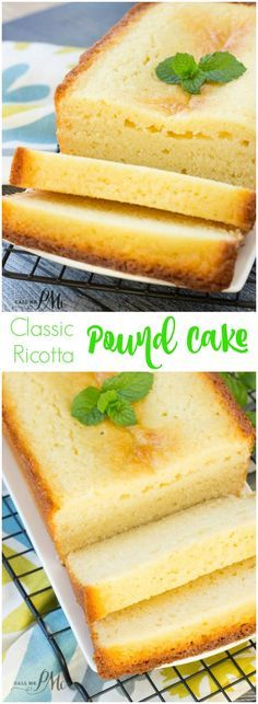 This Classic Ricotta Pound Cake is incredibly moist, buttery, and soft. This is a different take on a pound cake recipe where whole milk ricotta is used.