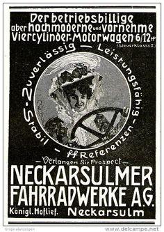 Original-Werbung/Inserat/ Anzeige 1908 - MOTORWAGEN / NECKARSULMER FAHRRADWERKE NSU - ca. 70 x 100 mm