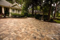 Upgrade your driveway with Tremron Mega Olde Towne pavers in Sierra. Driveway Design, Driveway Landscaping, Driveway Pavers, Driveway Ideas, Tampa Florida, Florida Home, Cobblestone Driveway, Hardscape Design, Brick Pavers