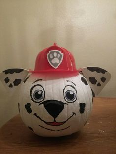 Paw Patrol Marshall Painted Pumpkin For Kids These 19 Clever No Carve Painted Pumpkins For Kids are fun for the whole family. Ideas include Pokemon, My Little Pony, Paw Patrol, Shopkins, and more. Diy Halloween, Halloween Pumpkins, Halloween Decorations, Paw Patrol Halloween Costume, Paw Patrol Halloween Ideas, Paw Patrol Dog Costume, Christmas Pumpkins, Halloween House, Halloween Costumes