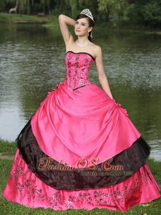 Hot Pink For 2013 Quinceanera Dress Hand Made Flowers With Emdroidery  http://www.fashionos.com  taffeta and organza quinceanera dress with full skirt | popular floor length quinceanera dress |