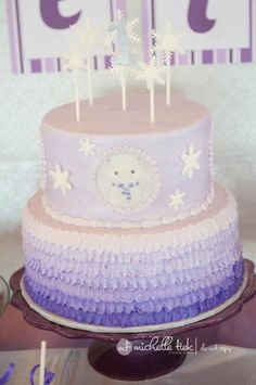 Purple ruffle cake with rice paper printed polar bears