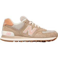 New Balance Women 574 Suede & Nylon Canvas Sneakers ($125) ❤ liked on Polyvore featuring shoes, sneakers, tenis, zapatos, suede leather shoes, new balance, plimsoll shoes, nylon sneakers and new balance footwear