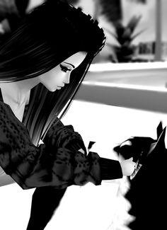 black&white, dog, and girl afbeelding