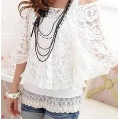 Mix Match Scoop Neck Bat Wing Sleeves Loose Fitting Lace Blouse and Vest Two Piece Set For Women Cute Summer Outfits, Cute Outfits, Looks Style, My Style, Off Shoulder T Shirt, Look Fashion, Womens Fashion, Fashion Hub, Ladies Fashion