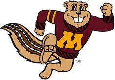 Minnesota Golden Gophers Logo - A running gopher with a maroon sweater with a yellow