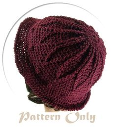 free crochet hat patterns for women   PDF Pattern Only Burgundy Crochet Hat with rib outline petals from the ...