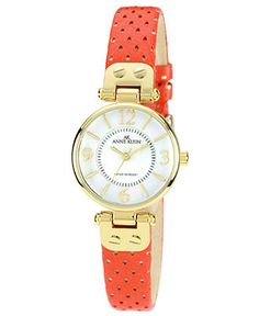 Anne Klein Watch, Women's Orange Perforated Leather Strap 26mm 10-9888MPOR - Women's Watches - Jewelry & Watches - Macy's