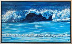 schilderij met omslaande golf van 60 x 100 cm in acryl op doek Golf, Waves, Ocean, Painting, Outdoor, Outdoors, Painting Art, Paintings, The Ocean