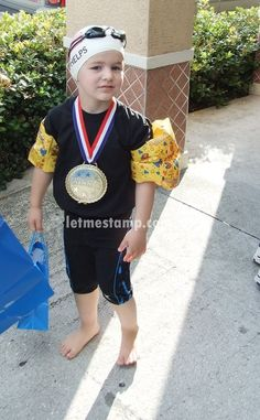 After the 2008 Summer games I decided to give my youngest son an Olympic inspired Halloween costume. And who was the star of the show in 2008? Michael Phelps I tried to explain to Joey (who was only 4 at the time) who he was supposed to be but he just didn't really get it. I think he would rather have been Darth Vader (which he was the next year!). Me--I loved his Phelps-in-training (had to have the arm floaties) costume! We were in Florida for my grandpa's 100th birthday party. The town has…