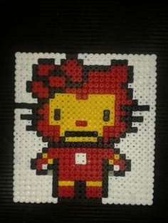 Hello Kitty Iron Man (The Avengers) Handcrafted Hama Bead Large Coaster £2.50