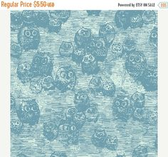 ON SALE Wonderland Owly Blue  - 1/2 Yard
