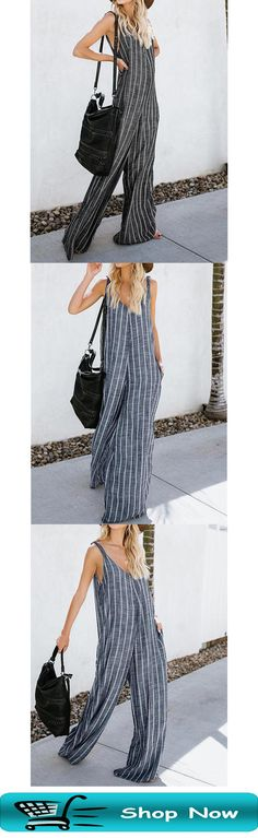 3c184be49edc 52% off Striped Split-joint Wide Leg Sleeveless Jumpsuits