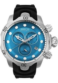 Invicta 6114 Mens Subaqua Venom Reserve Chronograph Blue Dial Black Rubber Strap *** See this great product. This Amazon pins is an affiliate link to Amazon.
