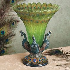 Peacock Tabletop Centerpiece Vase  Ohhhh!  I love this!!