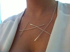 Silver+statement+Necklace+Delicate+jewelry+Geometric+by+ReutSeagel