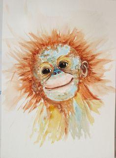 ORANGUTAN CUTIE Monkey Ape Jungle Animal Primate by marjansart