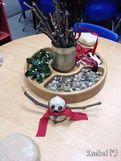 Love the use of a divided lazy Susan to organize a center. Snowman, Snowmen
